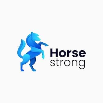 Ilustração em vetor logotipo cavalo gradiente estilo colorido