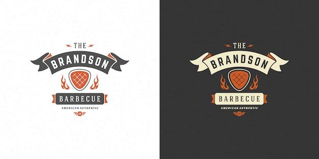 Ilustração em vetor logotipo churrasco grill casa ou churrasco restaurante menu emblema carne bife