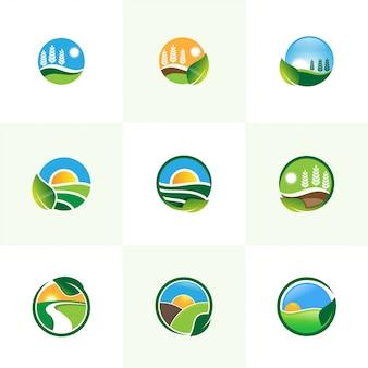 Ilustração em vetor logotipo conjunto de agricultura