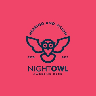 Ilustração em vetor logotipo coruja noturna estilo distintivo vintage