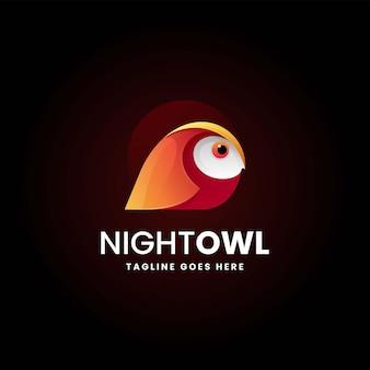 Ilustração em vetor logotipo coruja noturna gradiente estilo colorido