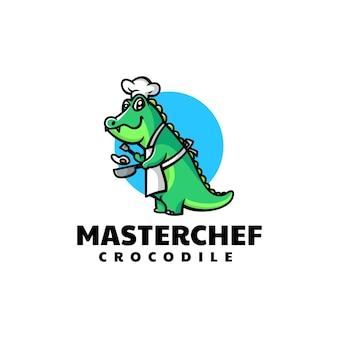 Ilustração em vetor logotipo crocodilo chef mascote estilo desenho animado
