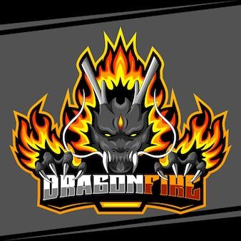 Ilustração em vetor logotipo dragão mascote de fogo esport
