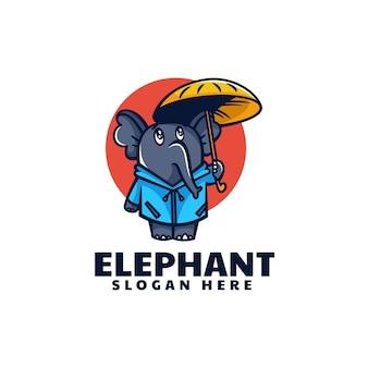 Ilustração em vetor logotipo elefante mascote estilo de desenho animado
