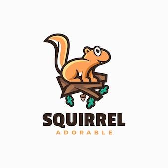 Ilustração em vetor logotipo esquilo estilo simples mascote Vetor Premium