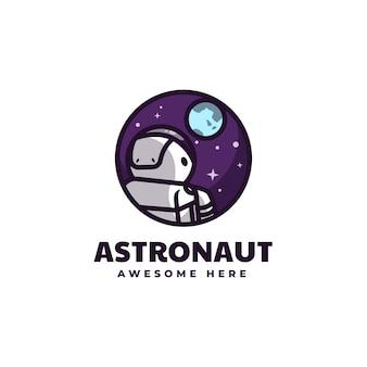 Ilustração em vetor logotipo estilo mascote simples de astronauta