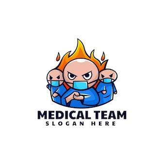 Ilustração em vetor logotipo estilo simples mascote da equipe médica