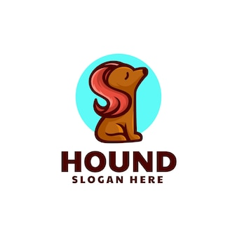 Ilustração em vetor logotipo estilo simples mascote de cão