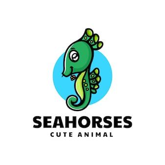 Ilustração em vetor logotipo estilo simples mascote de cavalo marinho