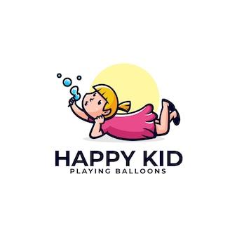 Ilustração em vetor logotipo estilo simples mascote de menina