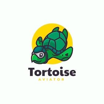 Ilustração em vetor logotipo estilo simples mascote de tartaruga