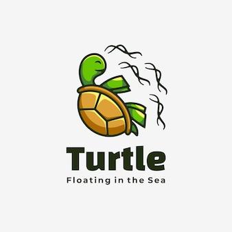 Ilustração em vetor logotipo estilo simples mascote de tartaruga.