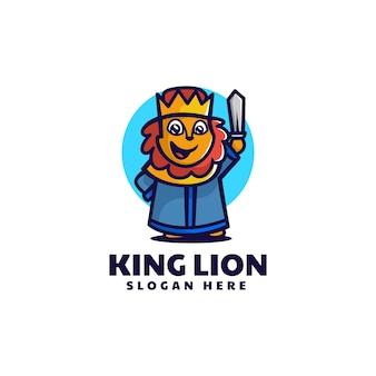 Ilustração em vetor logotipo estilo simples mascote rei leão