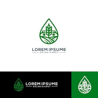 Ilustração em vetor logotipo fazenda agricultura