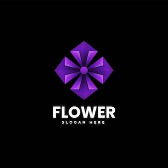 Ilustração em vetor logotipo flor gradiente estilo colorido