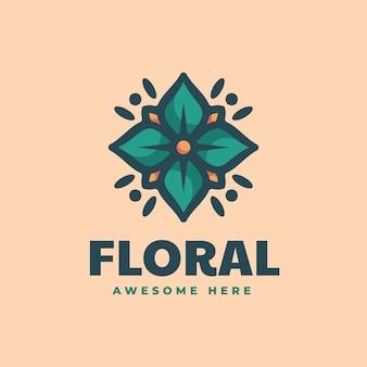 Ilustração em vetor logotipo floral estilo mascote simples