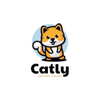 Ilustração em vetor logotipo gato estilo simples mascote