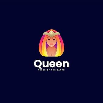 Ilustração em vetor logotipo gradiente colorido estilo queen