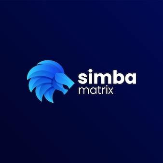 Ilustração em vetor logotipo gradiente de leão colorido