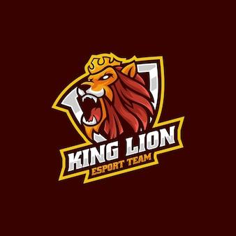 Ilustração em vetor logotipo king lion e esporte e estilo esportivo