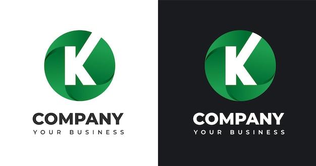 Ilustração em vetor logotipo letra k com desenho em forma de círculo