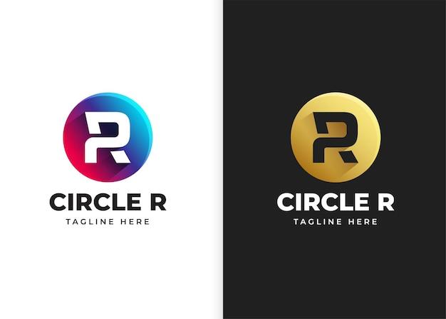 Ilustração em vetor logotipo letra r com design de forma de círculo