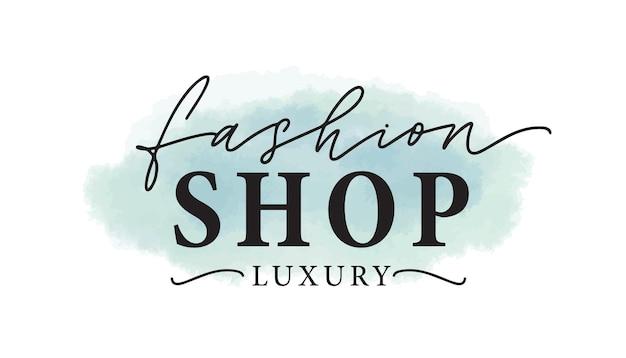 Ilustração em vetor logotipo loja de moda. logotipo da aquarela da loja de roupas de luxo, design da etiqueta. inscrição em fundo de manchas de tinta azul. letras de loja de roupas com pinceladas de aquarela.