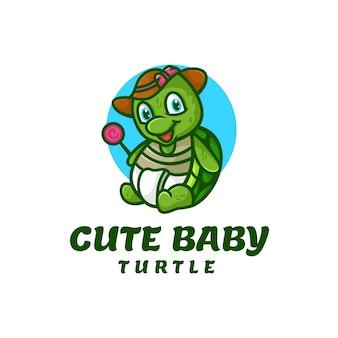 Ilustração em vetor logotipo mascote bebê tartaruga estilo desenho animado