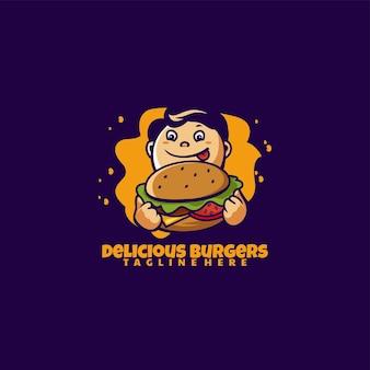 Ilustração em vetor logotipo mascote burger boy estilo cartoon Vetor Premium