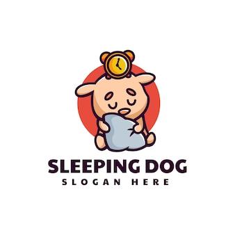 Ilustração em vetor logotipo mascote cão adormecido estilo de desenho animado