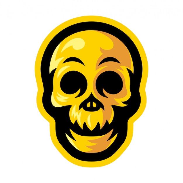 Ilustração em vetor logotipo mascote crânio amarelo