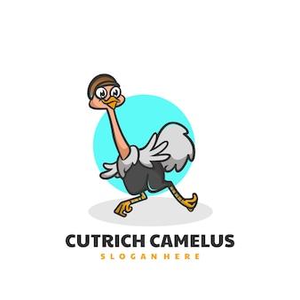 Ilustração em vetor logotipo mascote de avestruz estilo de desenho animado