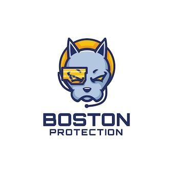 Ilustração em vetor logotipo mascote de cachorro de boston, estilo de desenho animado