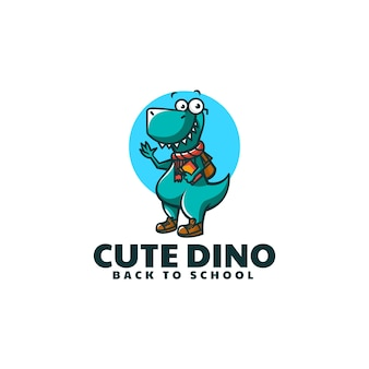 Ilustração em vetor logotipo mascote de dinossauro estilo de desenho animado