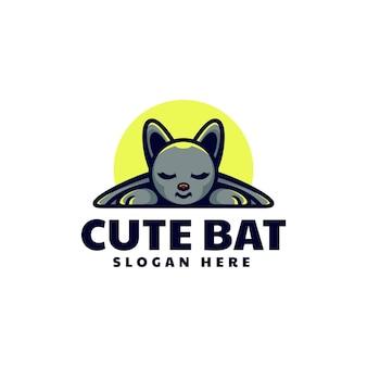Ilustração em vetor logotipo mascote de morcego bonito estilo desenho animado