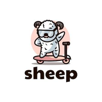 Ilustração em vetor logotipo mascote de ovelha estilo de desenho animado