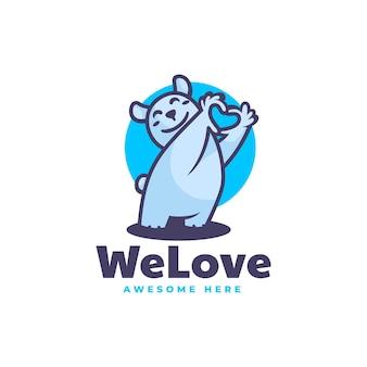 Ilustração em vetor logotipo mascote de urso estilo de desenho animado