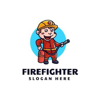 Ilustração em vetor logotipo mascote do macaco bombeiro estilo de desenho animado