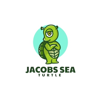 Ilustração em vetor logotipo mascote do mar de tartaruga estilo desenho animado