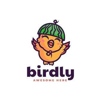 Ilustração em vetor logotipo mascote pássaro feliz estilo desenho animado
