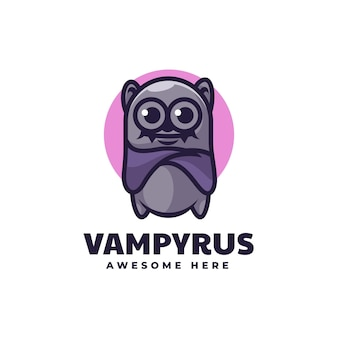 Ilustração em vetor logotipo morcego estilo simples mascote