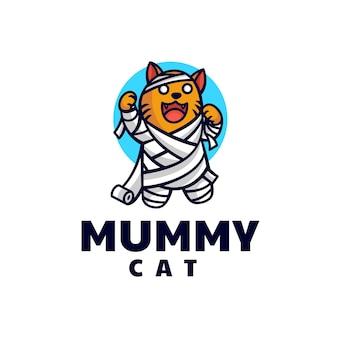 Ilustração em vetor logotipo mummy cat mascot cartoon style