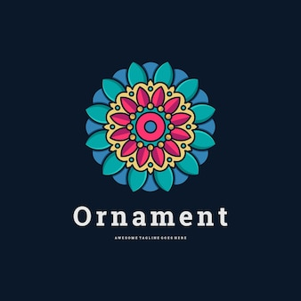 Ilustração em vetor logotipo ornamento de flor estilo de linha infinita