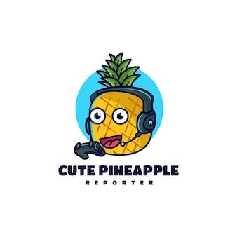 Ilustração em vetor logotipo para jogos mascote de abacaxi estilo de desenho animado