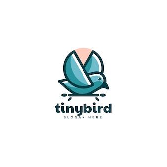 Ilustração em vetor logotipo pequeno pássaro estilo mascote simples