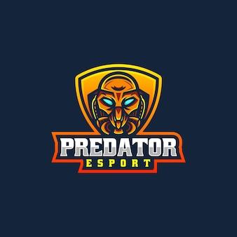 Ilustração em vetor logotipo predator e esporte e estilo esportivo