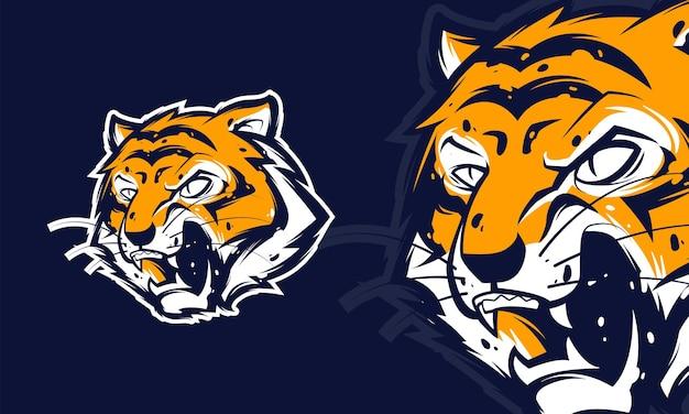 Ilustração em vetor logotipo premium cabeça de tigre zangado, mascote