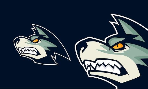 Ilustração em vetor logotipo premium com cabeça de lobo zangado, mascote