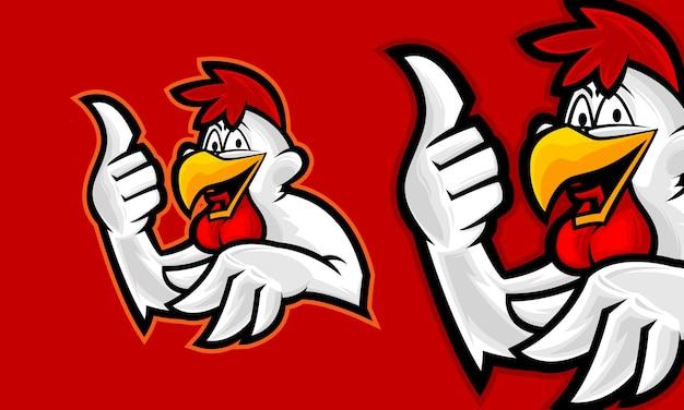 Ilustração em vetor logotipo premium galo engraçado mascote