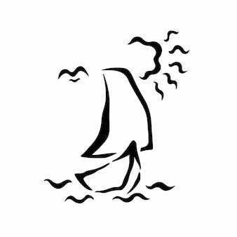 Ilustração em vetor logotipo símbolo de navio